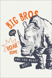 Nashorn Big Bros Illustration Kunstdruck Poster P0292