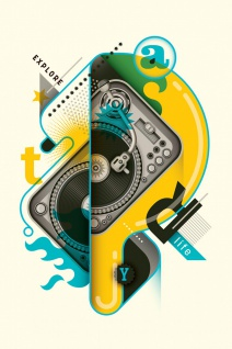 DJ Schallplatte Vinyl Illustration Kunstdruck Poster P0473