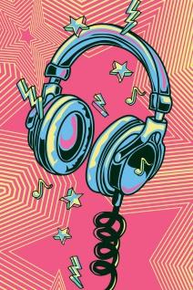 Kopfhörer Headphones Musik Illustration Kunstdruck Poster P0464
