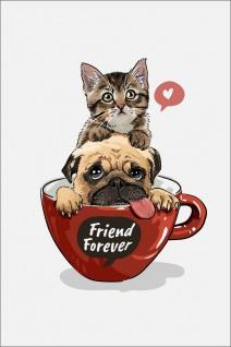 Hund Katze Freundschaft Kunstdruck Poster P0286