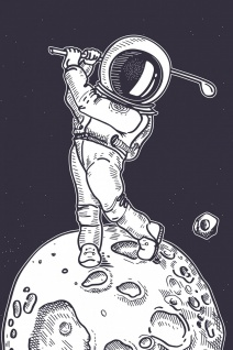 Astronaut Golf Illustration Kunstdruck Poster P0406