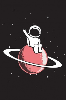 Astronaut Saturn Illustration Kunstdruck Poster P0394