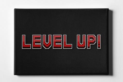 Gaming Level Up Pixelgrafik Leinwand L0049
