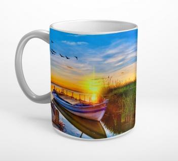 Ufer Boot Steg Wasser Meer Tasse T0809