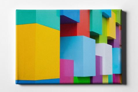 Farben bunte Quaderwand Kunst Leinwand L0176