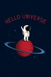 Astronaut Hello Universe Illustration Kunstdruck Poster P0408