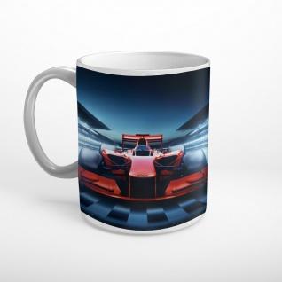 Rennwagen Formel Ziellinie Rennstrecke Motorsport Tasse T0497
