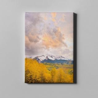 Gebirge Gipfel Wald Herbst Landschaft Leinwand L0374