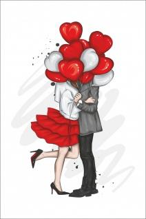 Liebespaar Luftballons Kunstdruck Poster P0303