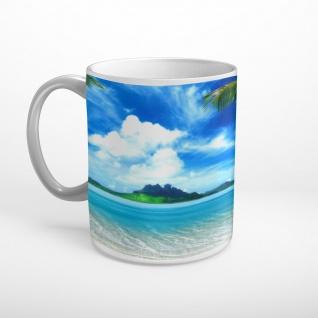Strand Meer Insel Palmen Urlaub Tasse T1607