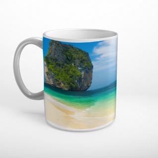 Insel Felsen Meer Strand Tasse T1797