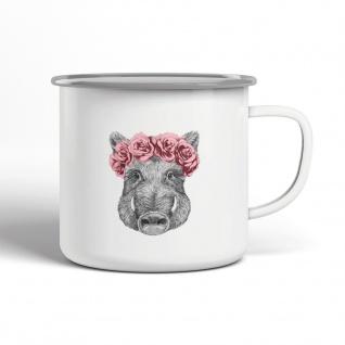 Wildschwein Blumenschmuck Emaille Becher Motiv Tasse TE0067