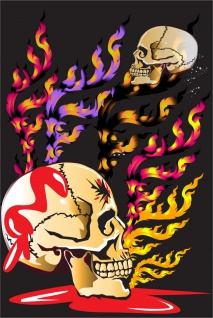 Totenkopf Skull Flammen Kunstdruck Poster P0275