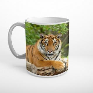 Tiger Baumstamm Tier Wildnis Tasse T1613