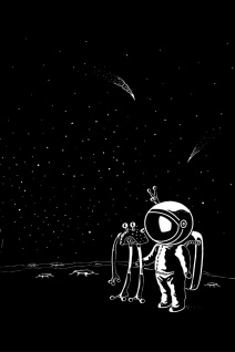 Astronaut Alien Weltraum Illustration Kunstdruck Poster P0384