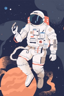 Astronaut Planeten Weltraum Illustration Kunstdruck Poster P0391