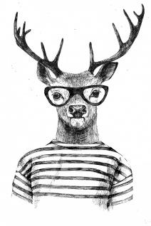 Elch Hipster Illustration Kunstdruck Poster P0316