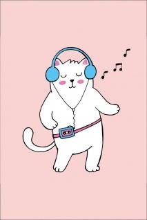 Comic Katze Cat Walkman Kunstdruck Poster P0281