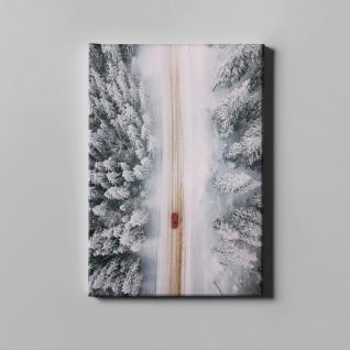 Schnee Winter Wald Straße Rotes Auto Leinwand L0383