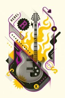 Gitarre Musik Plakat Illustration Kunstdruck Poster P0438