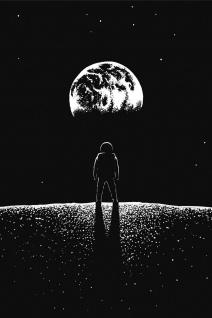 Astronaut Mond Erde Weltraum Illustration Kunstdruck Poster P0388