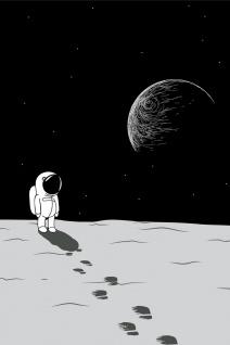 Astronaut Mond Erde Weltraum Illustration Kunstdruck Poster P0382