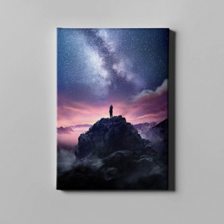Gebirge Sternenhimmel Felsen Landschaft Leinwand L0365