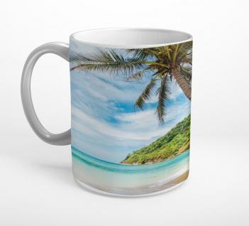 Strand Palmen Felsen Insel Meer Tasse T0812
