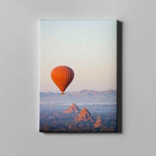 Heißluftballon Tempel Gebirge Landschaft Leinwand L0372