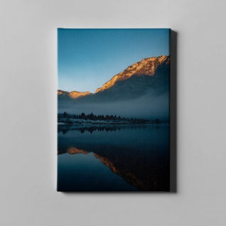 See Sonnenuntergang Berge Schnee Landschaft Leinwand L0369