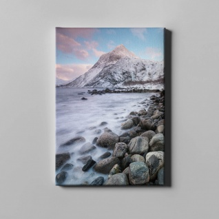 See Nebel Berge Schnee Landschaft Leinwand L0370