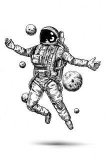 Astronaut Planeten Weltraum Illustration Kunstdruck Poster P0392