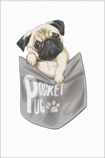 Mops Pocket Pug Kunstdruck Poster P0283
