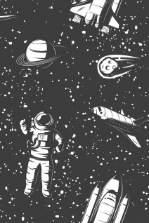 Astronaut Space Shuttle Weltraum Illustration Kunstdruck Poster P0386
