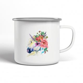 Einhorn Blumenkranz Emaille Becher Motiv Tasse TE0056