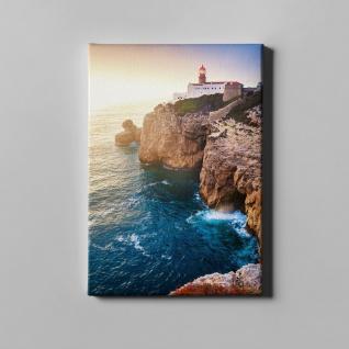 Leuchtturm Klippe Brandung Meer Landschaft Leinwand L0377