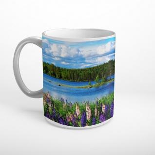 Blumen Fluss Wald Landschaft Tasse T1799