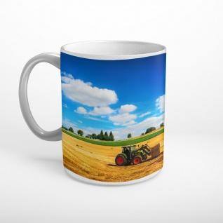 Traktor Feld Ernte Sommer Strohballen Tasse T0487