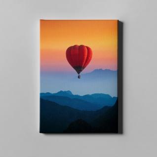Heißluftballon Sonnenuntergang Gebirge Landschaft Leinwand L0378