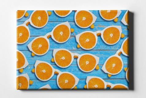 Orangen Frucht Brille Muster Leinwand L0068