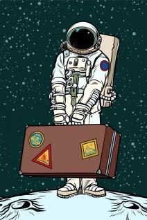 Astronaut Weltall Tourist Illustration Kunstdruck Poster P0403