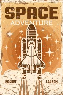Space Shuttle Retro Illustration Kunstdruck Poster P0399