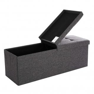 Nancys Hocker Leinen - Storage Bench - Fußschemel Mit Lagerung - Sofa mit Ablage - grau - 110 x 38 x 38 cm