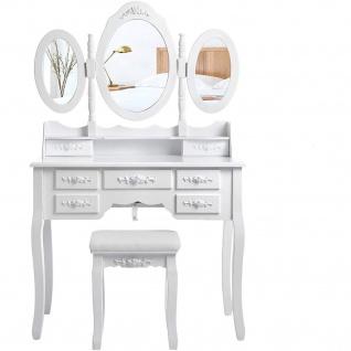 Nancys Crenshaw Luxuskosmetiktisch Set - Make-up-Tabelle mit 3 Spiegeln & Hocker - Makeup-Organizer - Weiß