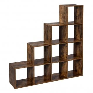 Nancys Bücherregal - 10 Fächer - Aktenschrank - Schrank - Schränke - Holz - Braun - Industrie - 129, 5 x 30, 5 cm