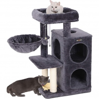 Nancys Kratzbaum mit Hängematte und Spielzeug - Spielhaus für Katzen - 90CM