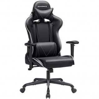 Nancys Spiel Stuhl - Gaming Chair - Bürostuhl - Verstellbare Armlehnen - Bürostühle - Schwarz / Weiß - 50 x 52 x 131 cm