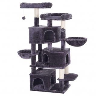 Nancys XXL Kratzbaum - Katzenturm mit drei Höhlen - Kratz - Kratzb für Katzen -Donkergrijs - 55 x 40 x 164 cm