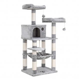 Nancys Cathlamet Katzen Baum - Kratzbaum - Klimboom für Katzen - Katzenturm mit Höhle - Hellgrau - 55 x 45 x 143 cm