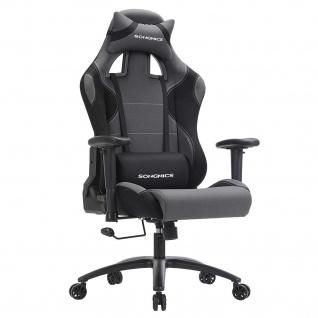 Nancys Spiel Stuhl - Gaming Chair - Bürostuhl - Verstellbare Armlehnen - Bürostühle - Weiß / Grau - 50 x 46 x 132 cm